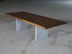 table made from two walnut boards
